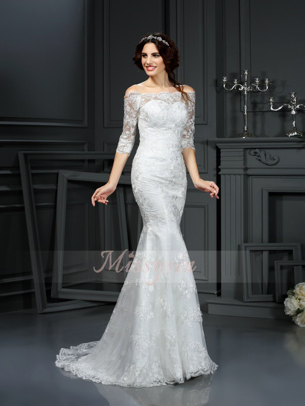 Sheath/Column Off-the-Shoulder Sweep/Brush Train Lace 1/2 Sleeves Lace Wedding Dresses