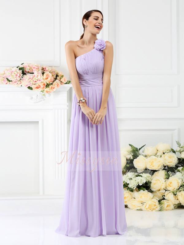 A-Line/Princess One-Shoulder Floor-Length Chiffon Sleeveless Pleats,Hand-Made Flower Bridesmaid Dresses