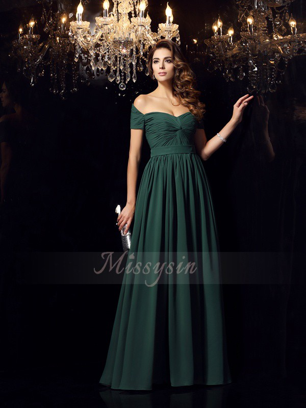 A-Line/Princess Floor-Length Off-the-Shoulder Sleeveless Ruched Chiffon Dresses