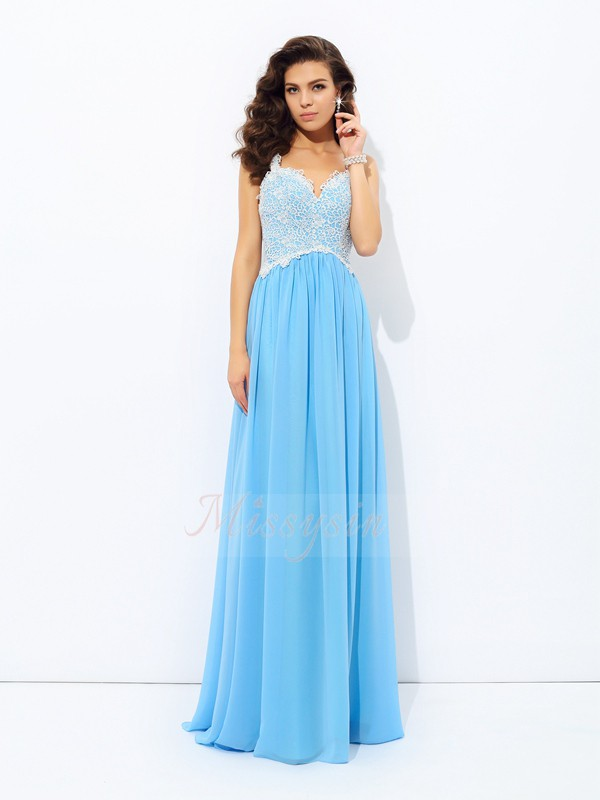 A-Line/Princess V-neck Sleeveless Chiffon Floor-length Dresses