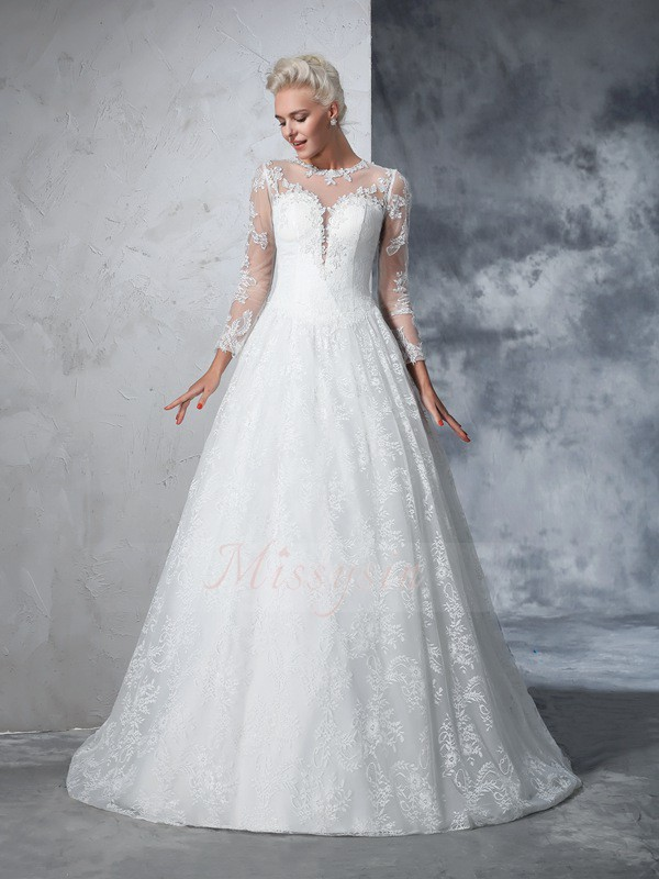 Ball Gown Jewel Long Sleeves Lace Court Train Wedding Dresses