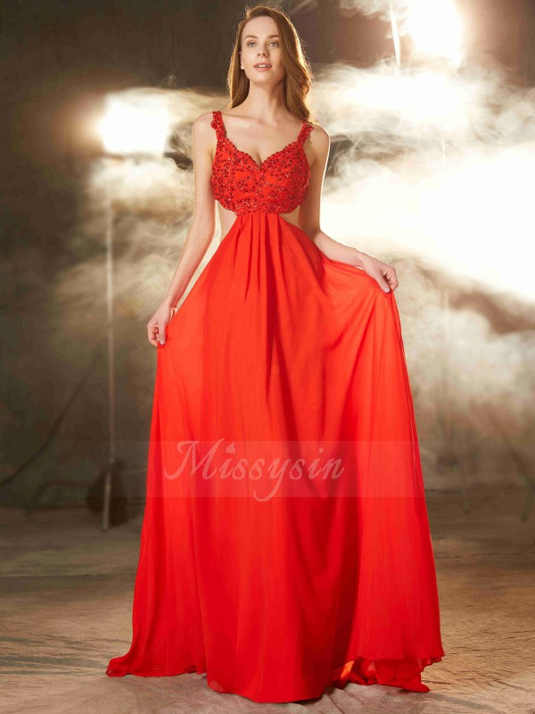 A-Line/Princess Sweep/Brush Train Straps Chiffon Sleeveless Applique Dresses