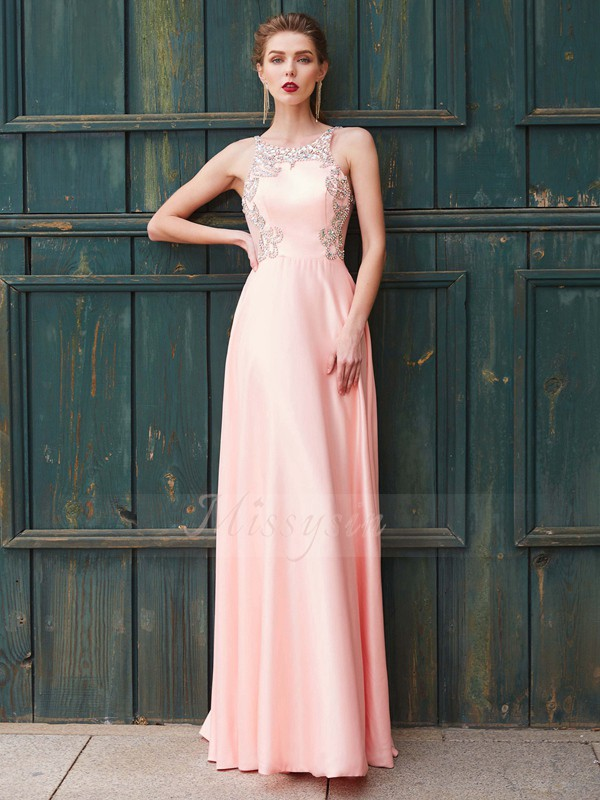 A-Line/Princess Floor-Length Scoop Satin Sleeveless Beading Dresses