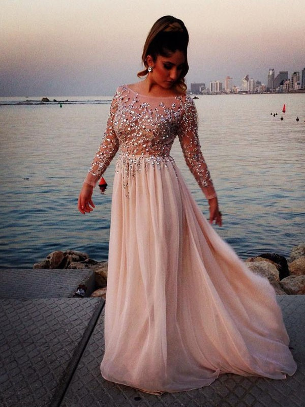 A-Line/Princess Long Sleeves Beading Chiffon Sweep/Brush Train Bateau Dresses