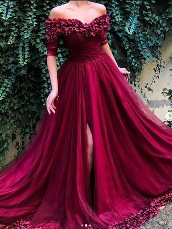A-Line/Princess 1/2 Sleeves Sweep/Brush Train Tulle Off-the-Shoulder Ruffles Dresses