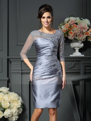 Sheath/Column Scoop Knee-Length Satin 1/2 Sleeves Beading Mother of the Bride Dresses