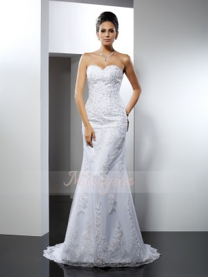 Trumpet/Mermaid Sweetheart Court Train Satin Sleeveless Lace Wedding Dresses