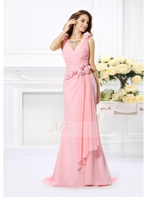 Trumpet/Mermaid V-neck Sweep/Brush Train Chiffon Sleeveless Hand-Made Flower Bridesmaid Dresses