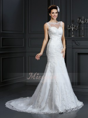 Sheath/Column Bateau Court Train Satin Sleeveless Lace Wedding Dresses