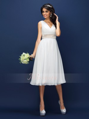 A-Line/Princess V-neck Knee-Length Chiffon Sleeveless Pleats,Sash/Ribbon/Belt Bridesmaid Dresses