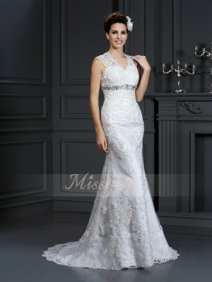 Sheath/Column V-neck Sweep/Brush Train Lace Sleeveless Beading Wedding Dresses