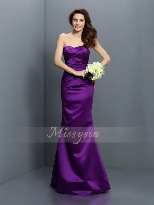 Trumpet/Mermaid Strapless Floor-Length Satin Sleeveless Pleats Bridesmaid Dresses