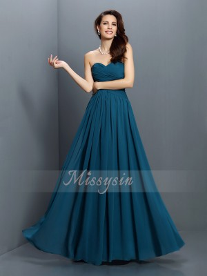 A-Line/Princess Sweetheart Floor-Length Satin Sleeveless Pleats Bridesmaid Dresses
