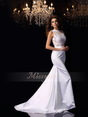 Trumpet/Mermaid High Neck Chapel Train Satin Sleeveless Applique Wedding Dresses