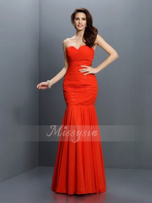 Trumpet/Mermaid Sweetheart Floor-Length Chiffon Sleeveless Pleats Bridesmaid Dresses