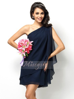 A-Line/Princess One-Shoulder Short/Mini Chiffon Sleeveless Other Bridesmaid Dresses