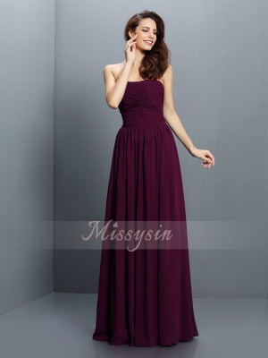 A-Line/Princess Strapless Floor-Length Chiffon Sleeveless Pleats Bridesmaid Dresses