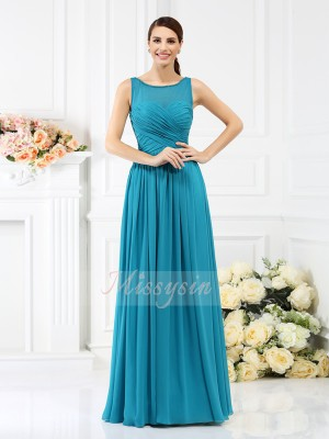 A-Line/Princess Bateau Floor-Length Chiffon Sleeveless Pleats Bridesmaid Dresses