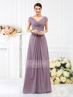 A-Line/Princess V-neck Floor-Length Chiffon Short Sleeves Pleats Bridesmaid Dresses