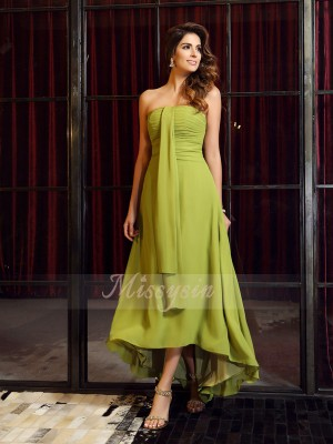 A-Line/Princess Strapless Asymmetrical Chiffon Sleeveless Other Bridesmaid Dresses