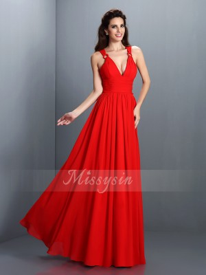 A-Line/Princess V-neck Floor-Length Chiffon Sleeveless Pleats Dresses