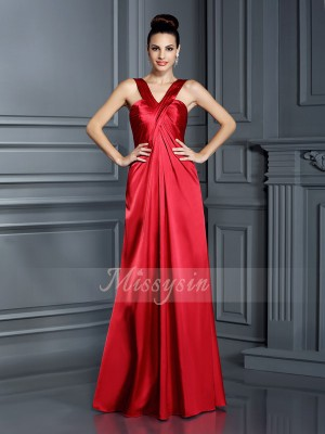 A-Line/Princess Straps Floor-Length Elastic Woven Satin Sleeveless Other Bridesmaid Dresses