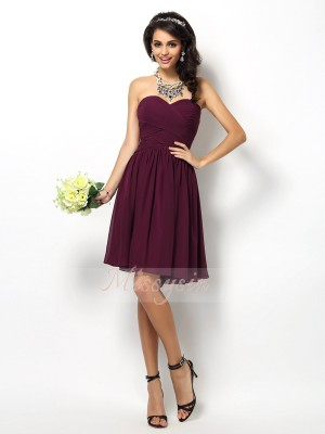 A-Line/Princess Sweetheart Short/Mini Chiffon Sleeveless Pleats Bridesmaid Dresses