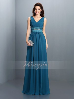 A-Line/Princess V-neck Floor-Length Chiffon Sleeveless Beading Bridesmaid Dresses