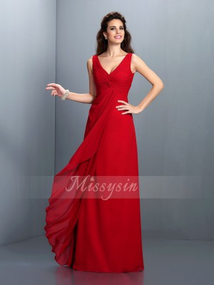 A-Line/Princess Straps Floor-Length Chiffon Sleeveless Pleats Dresses
