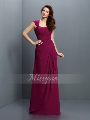 A-Line/Princess Straps Floor-Length Chiffon Sleeveless Pleats Bridesmaid Dresses