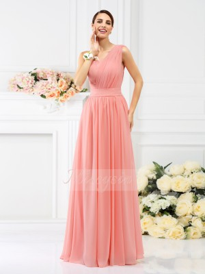 A-Line/Princess One-Shoulder Floor-Length Chiffon Sleeveless Pleats Bridesmaid Dresses