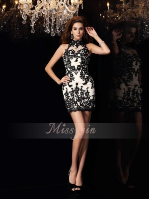 Sheath/Column High Neck Short/Mini Chiffon Sleeveless Beading,Applique Dresses