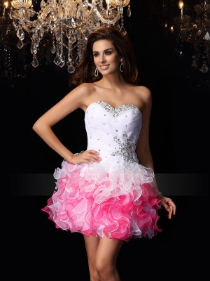 A-Line/Princess Sweetheart Short/Mini Organza Sleeveless Ruffles Dresses