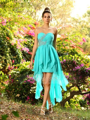 A-Line/Princess Sweetheart Asymmetrical Chiffon Sleeveless Beading Bridesmaid Dresses