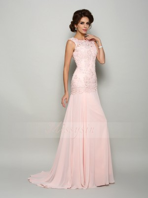 Trumpet/Mermaid Scoop Sweep/Brush Train Chiffon Sleeveless Beading,Applique Mother of the Bride Dresses