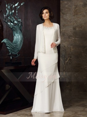 Sheath/Column Scoop Floor-Length Chiffon Sleeveless Beading Mother of the Bride Dresses