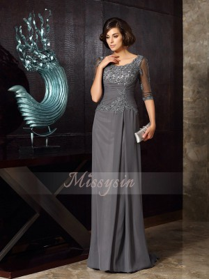 A-Line/Princess Scoop Sweep/Brush Train Chiffon 1/2 Sleeves Beading,Applique Mother of the Bride Dresses