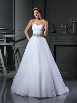 Ball Gown Court Train Sweetheart Sleeveless Beading Satin Wedding Dresses