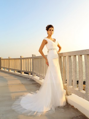Sheath/Column Court Train V-neck Sleeveless Pleats Net Wedding Dresses