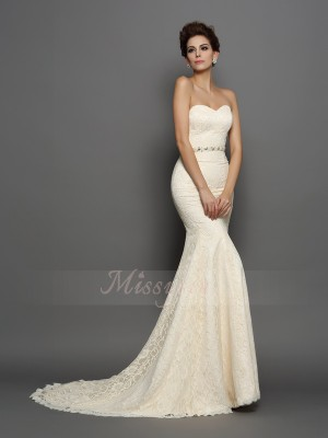 Trumpet/Mermaid Chapel Train Sweetheart Sleeveless Bowknot Satin Wedding Dresses