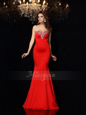 Sheath/Column Court Train Sweetheart Sleeveless Beading Satin Dresses
