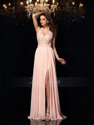 A-Line/Princess Sweep/Brush Train Halter Sleeveless Chiffon Dresses