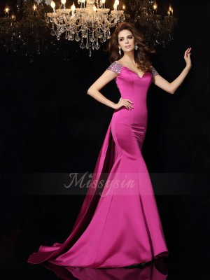 Trumpet/Mermaid Court Train Off-the-Shoulder Sleeveless Beading Satin Dresses