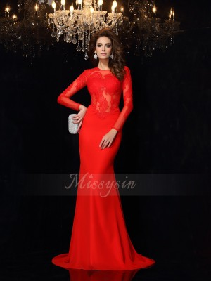 Sheath/Column Court Train Scoop Long Sleeves Chiffon Dresses