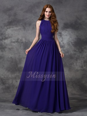 A-line/Princess Jewel Sleeveless Chiffon Floor-length Ruched Bridesmaid Dresses