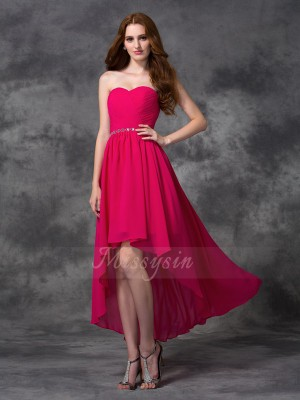 A-line/Princess Sweetheart Sleeveless Chiffon Asymmetrical Beading Bridesmaid Dresses