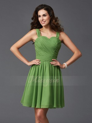 A-Line/Princess Straps Sleeveless Silk like Satin Short/Mini Ruffles Bridesmaid Dresses