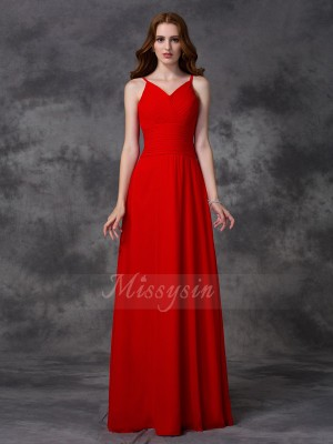 A-line/Princess Spaghetti Straps Sleeveless Chiffon Floor-length Ruffles Bridesmaid Dresses