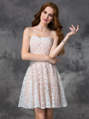 A-line/Princess Sweetheart Sleeveless Lace Short/Mini Dresses