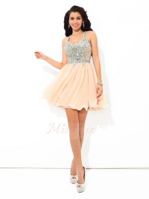 A-Line/Princess Straps Sleeveless Chiffon Short/Mini Rhinestone Dresses